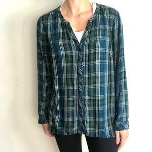 J.JILL Plaid button down blouse